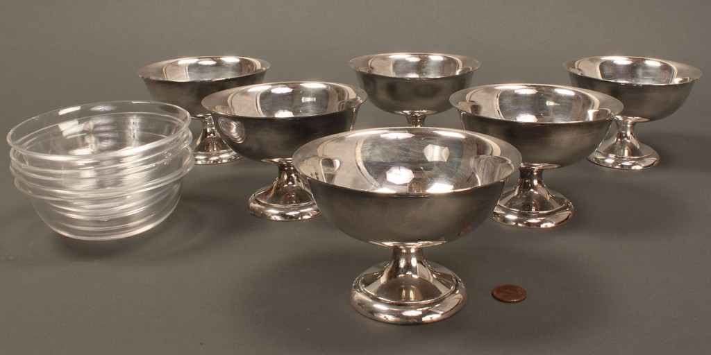 Lot 377: Set of 6 small sterling silver compotes