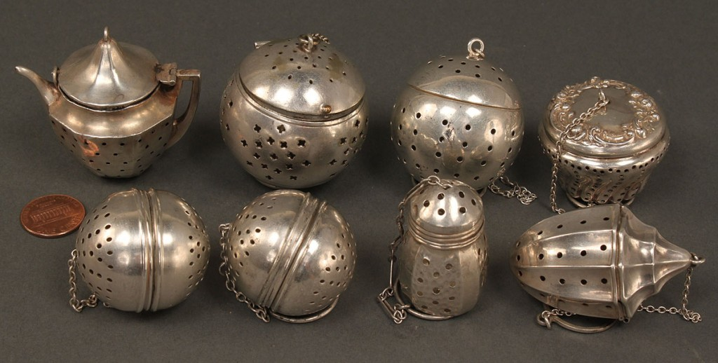 Lot 379: Lot of Silver Tea Infusers, 5 sterling, various sh