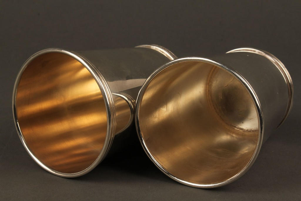 Lot 381: Pair of sterling julep cups & liquor labels