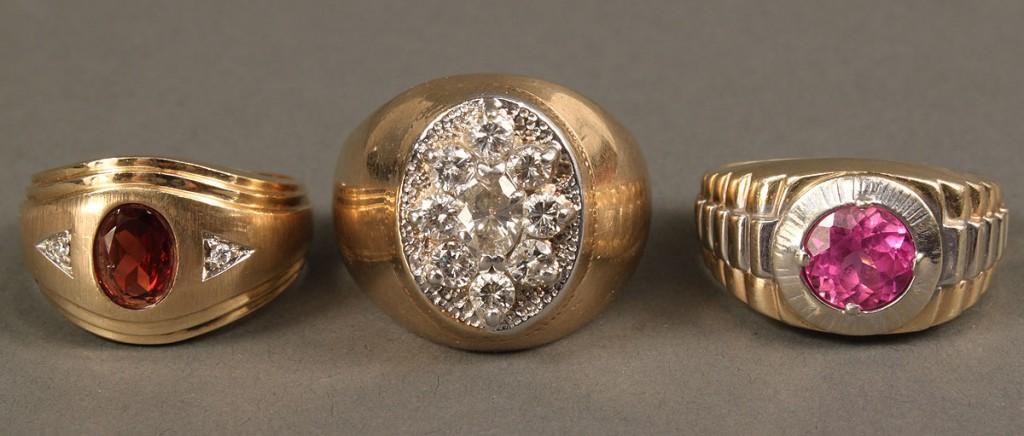 Lot 382: 3 10K Men's Rings w/ Stones, 1 diamond cluster