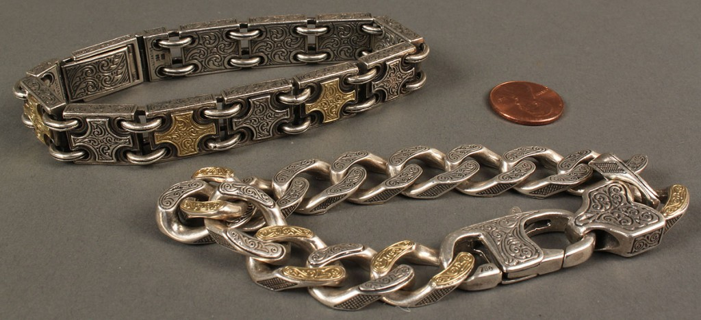 Lot 394: 2 Men's Sterling & 18K Gold Konstantino Bracelets