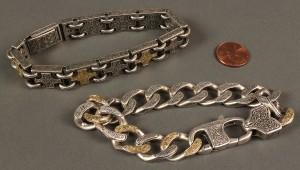 Lot 394: 2 Men's Sterling & 18K Gold Konstantino Bracelets - Image 2