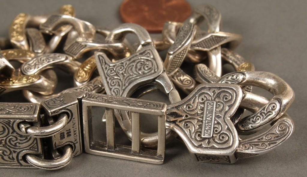 Lot 394: 2 Men's Sterling & 18K Gold Konstantino Bracelets