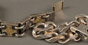 Lot 394: 2 Men's Sterling & 18K Gold Konstantino Bracelets - Image 5