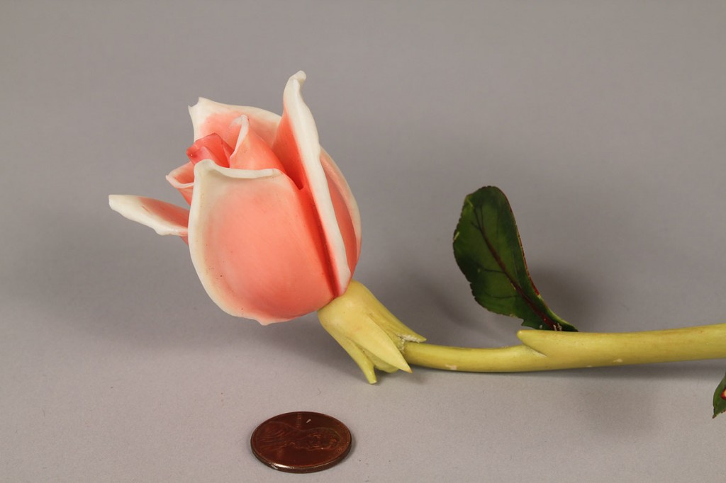 Lot 3: Asian Stained Ivory Carving of Rose and Vine