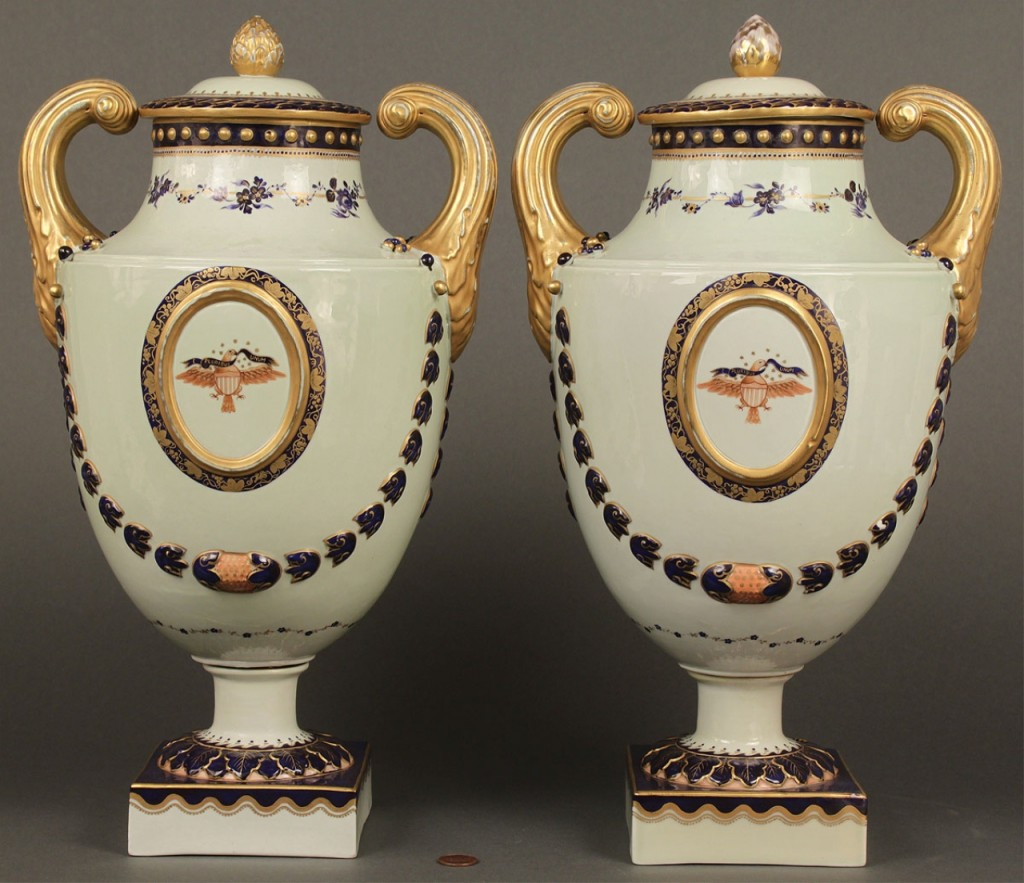 Lot 401: Pair of Chinese Export Armorial Urns