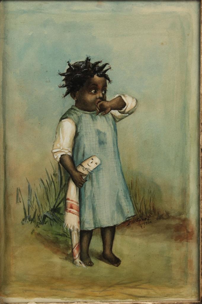 Lot 40: E. O. Jones Watercolor of African American Girl