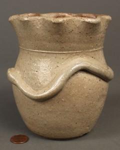 Lot 413: W. Tennessee Stoneware Pottery Vase w/ Snake Desig