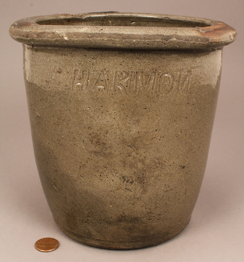 Lot 414: East TN Pottery Creampot, stamped Harmon