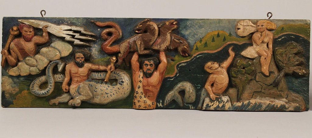 Lot 417: 2 Carved Folk Art Plaques, Righteous Ray artist