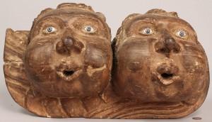 Lot 422: Pair of carved wood cherubs