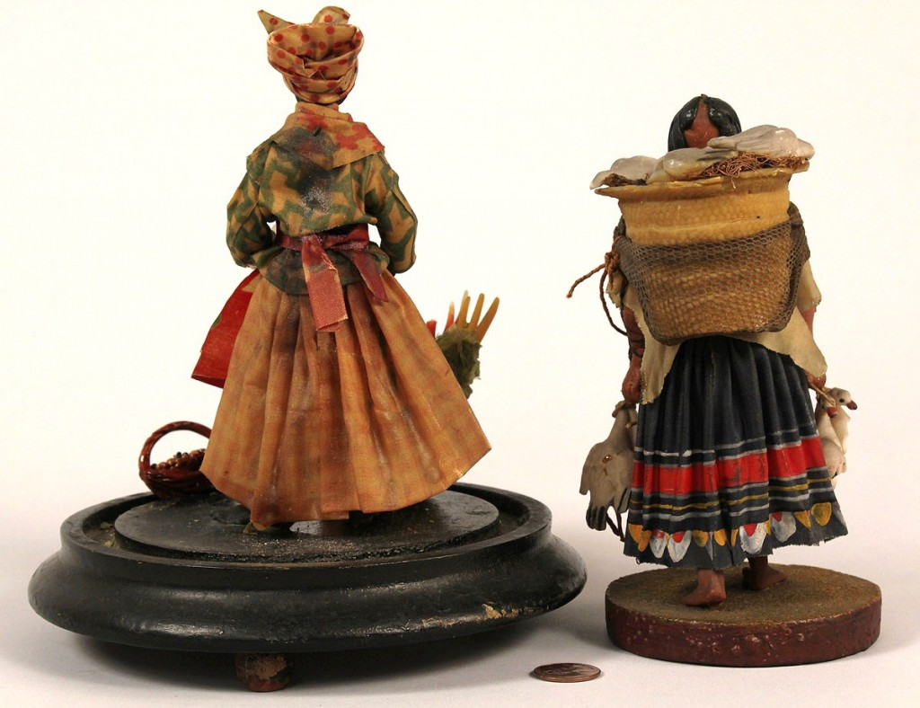 Lot 42: 2 Wax folk art figures attributed to Vargas