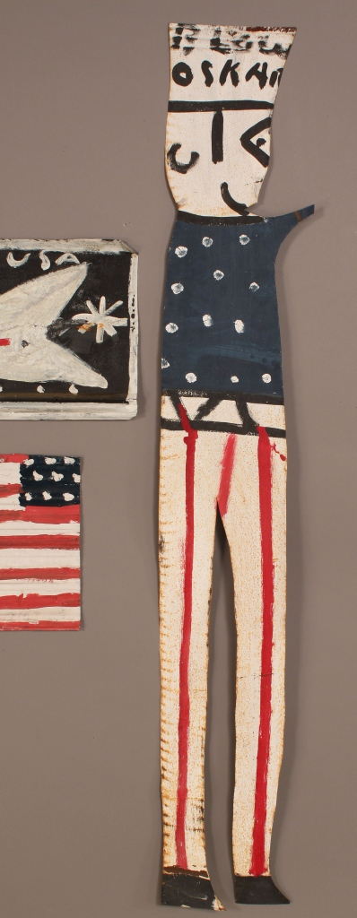 Lot 432: Three patriotic folk art works, attrib. R.A. Mille