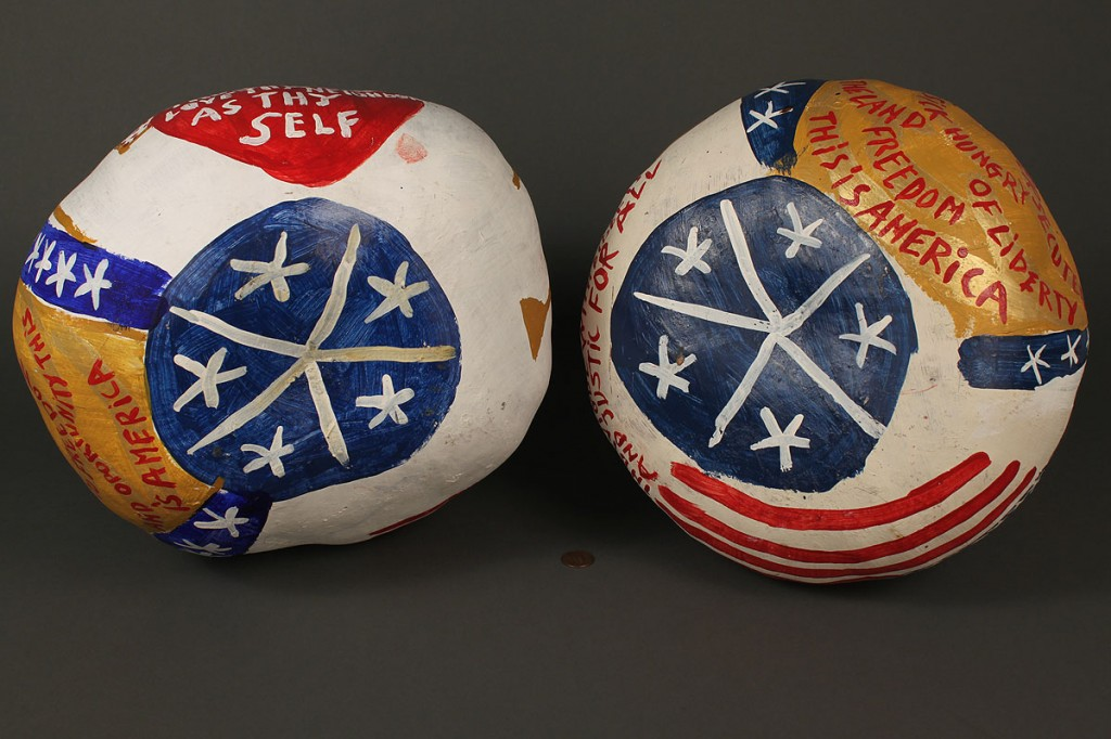 Lot 437: Pair of B. F. Perkins patriotic gourds