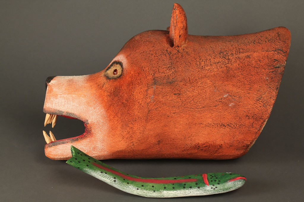 Lot 440: Carved and Painted Bear with Fish by Ron Rodriguez