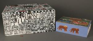 Lot 441: 2 folk art boxes, Erickson Wright & Beverland