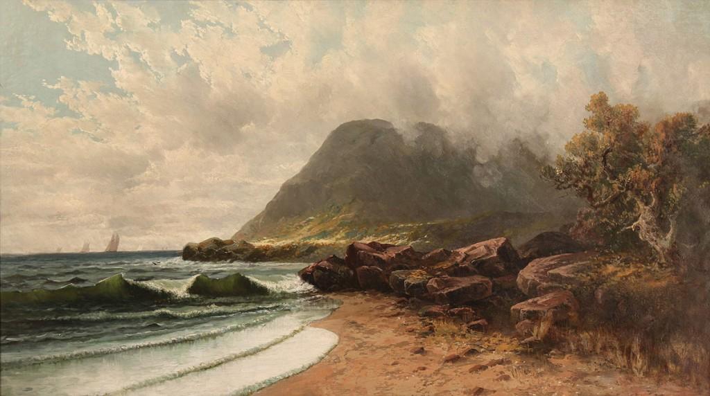 Lot 443: Manner of Alfred T. Bricher, o/c Coastal Landscape