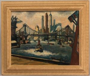 Lot 444: Lou Miles oil on canvas, NY Harbor Scene, 1932