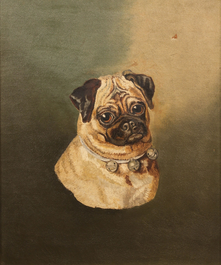 Lot 450: Oil on canvas of Pug Dog, unsigned