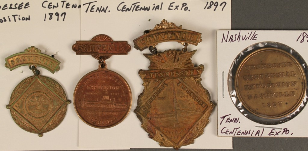 Lot 459: 3 Tennessee Centennial Souvenir Badges & 1 Coin