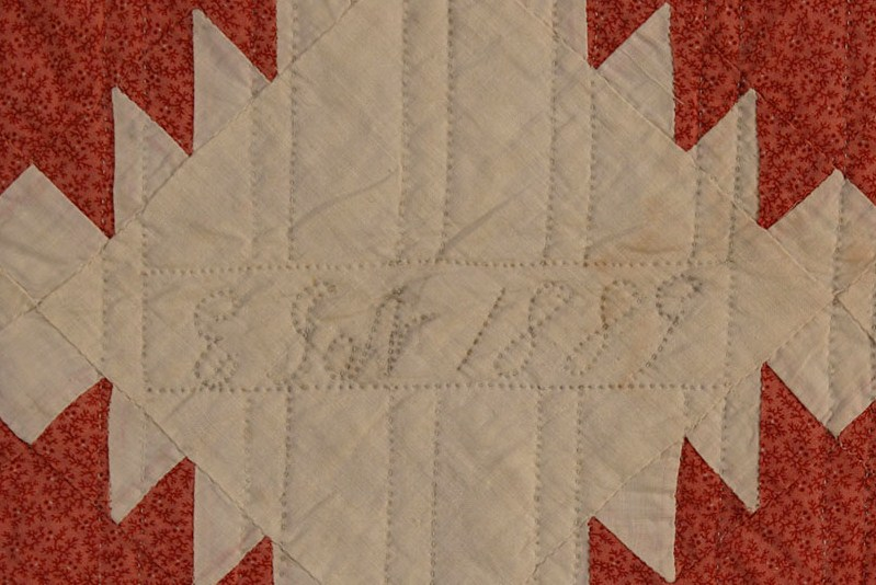 Lot 45: East TN Pieced Quilt, signed and dated 1889