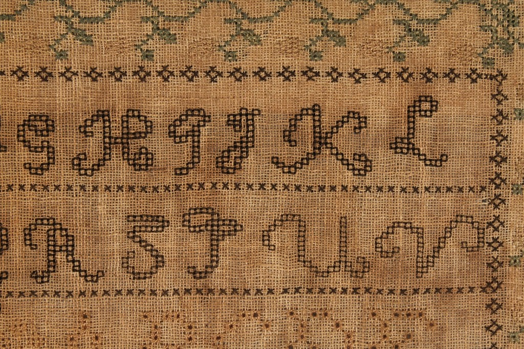 Lot 46: Signed and dated 1827 Tennessee Sampler