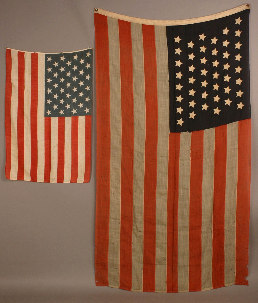 Lot 474: Two American flags, 44 star & 39 star unofficial