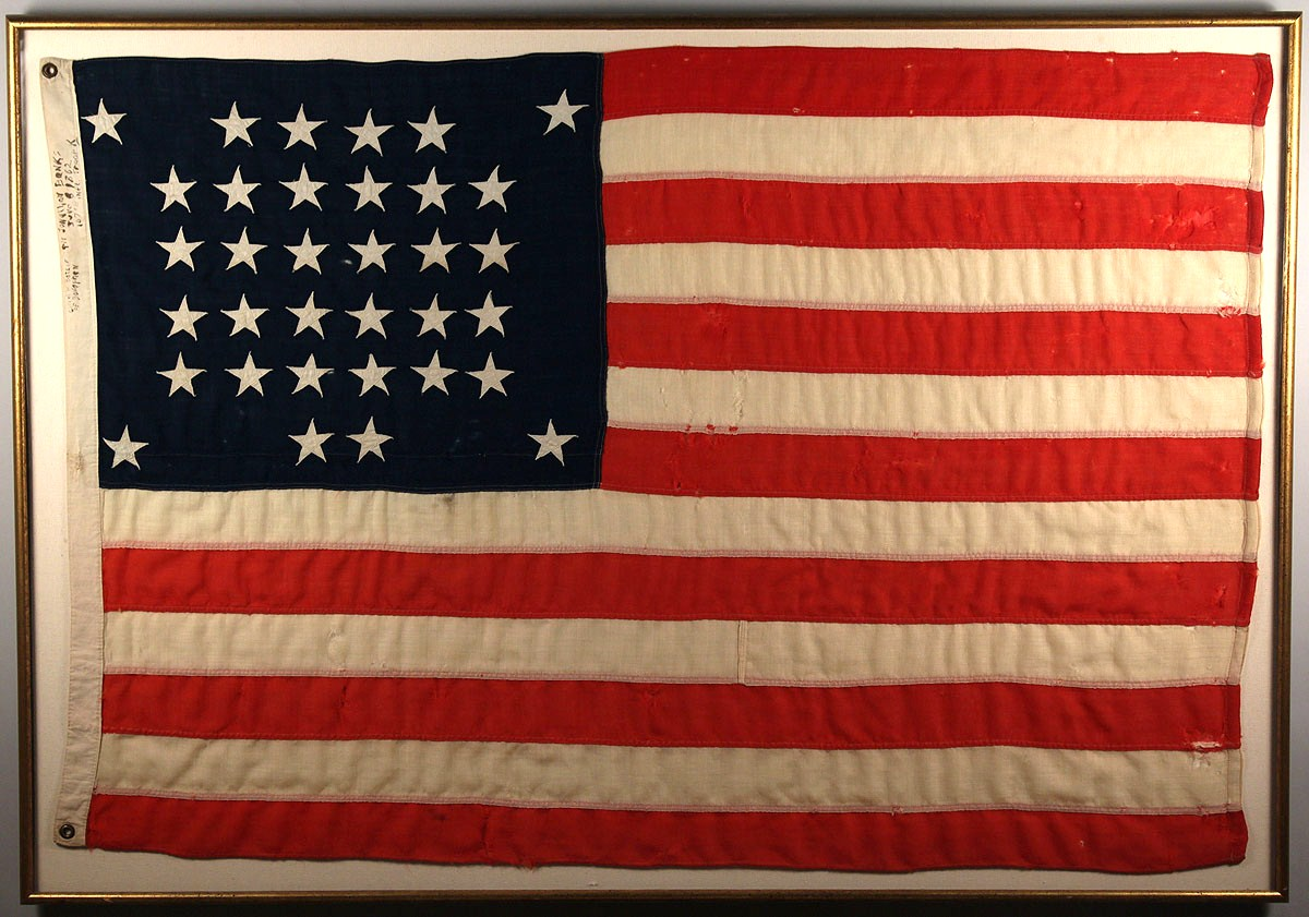lot 481  34 star wool flag with inscription  post civil war