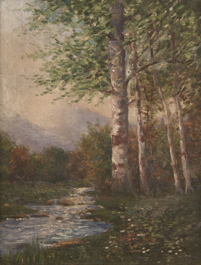 Lot 484: 2 landscape paintings, EG Gagg Knoxville labels, o