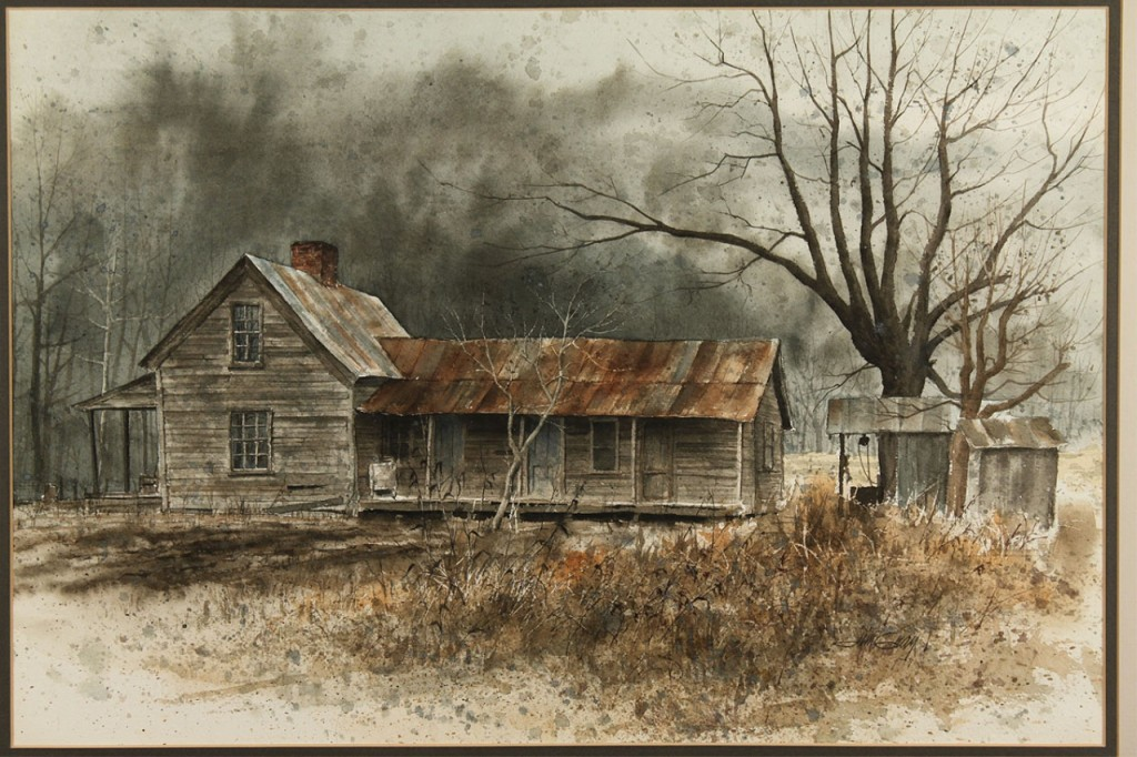 Lot 485: Jim Gray watercolor, Rural Farmhouse in Winter