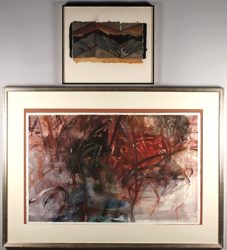 Lot 486: Two works on paper: Tom Riesing & Marcia Goldenste