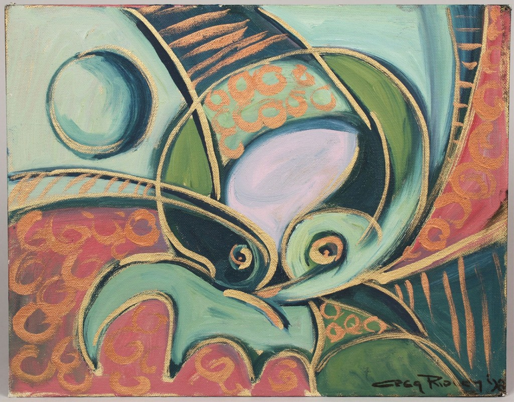 Lot 487: Gregory D. Ridley Abstract, Oil & Metallic on Boar