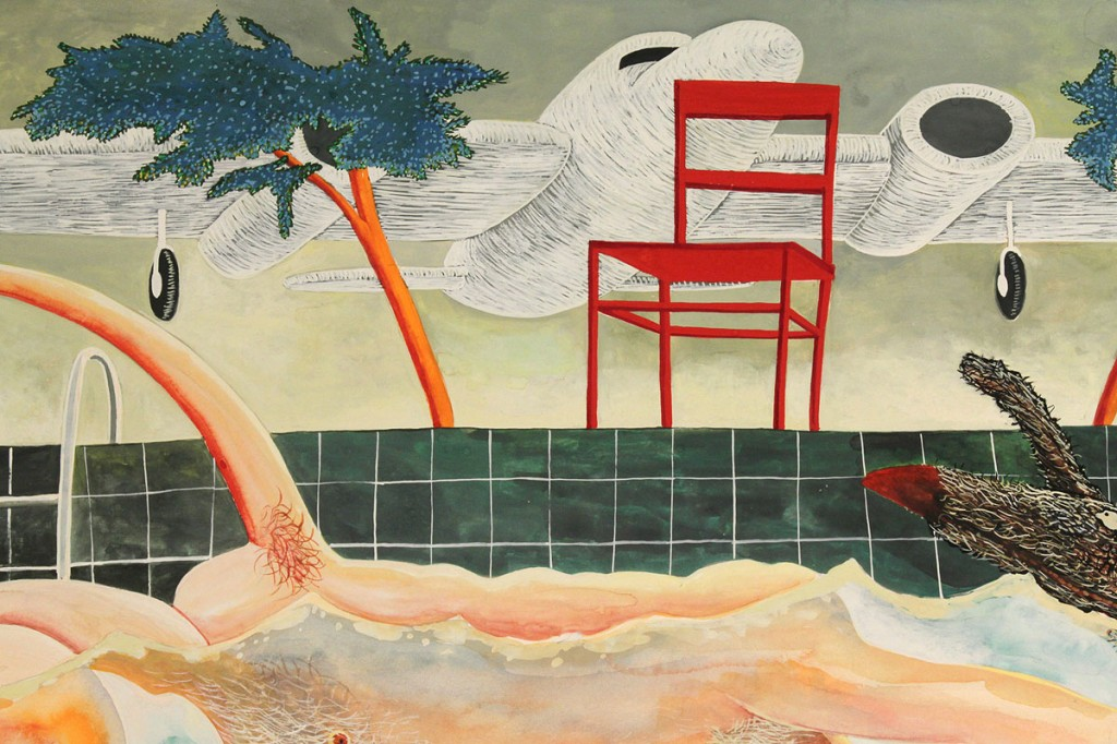 Lot 488: Robert Warrens surrealistic painting, A Pool