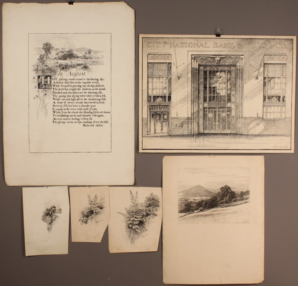 Lot 495: Grouping of Walworth Stilson Art, ink drawings/wc