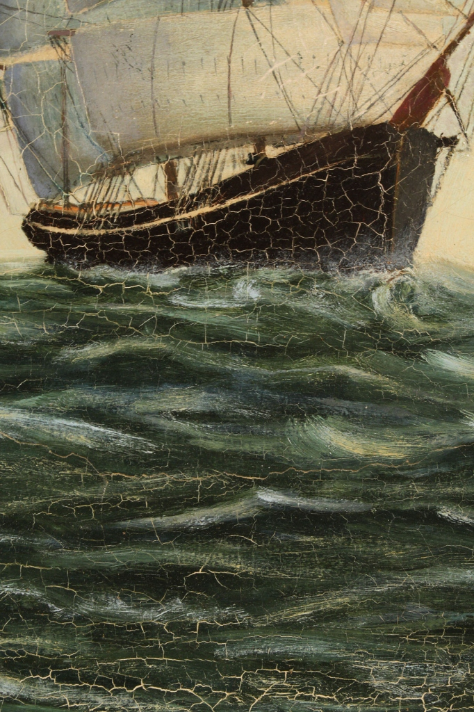 Lot 499: Oil on canvas ship portrait, Two-Masted Schooner