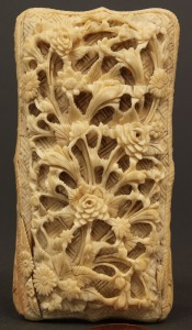 Lot 4: Asian Ivory calling card case, lift top, cartouche
