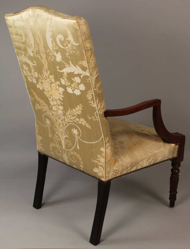 Lot 502: 19th century Sheraton upholstered arm chair