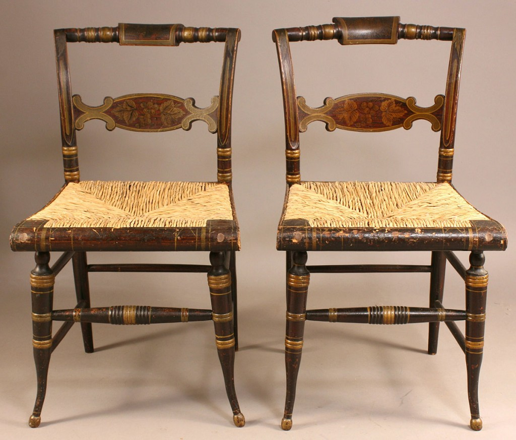 Lot 505: Pair of Fancy Painted Side Chairs