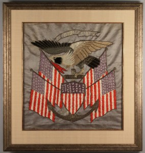 Lot 510: Silk Embroidered Eagle Picture, Great White Fleet