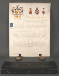 Lot 515: Manuscript Grant of Arms & Victoria Regina Box