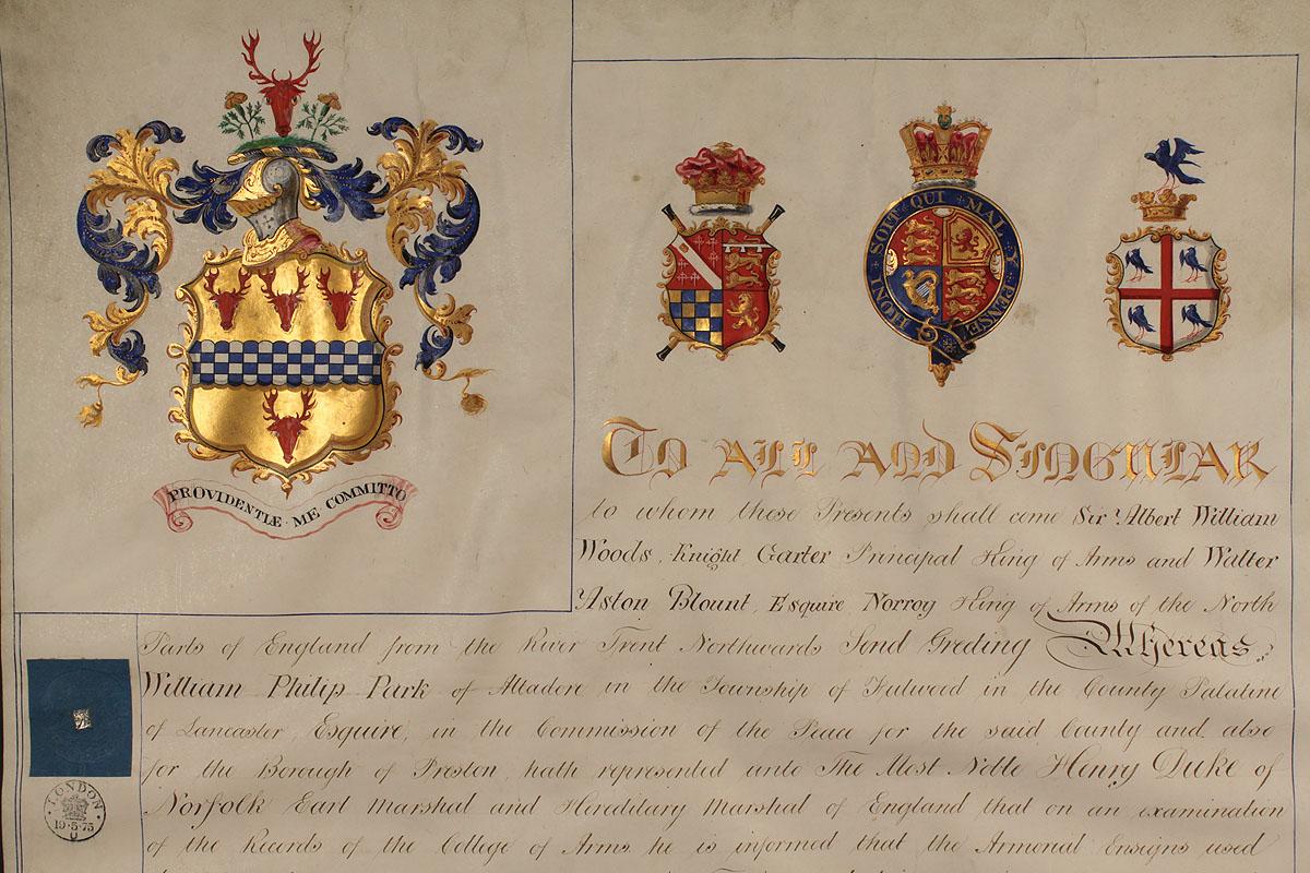 Lot 515 Manuscript Grant Of Arms Amp Victoria Regina Box