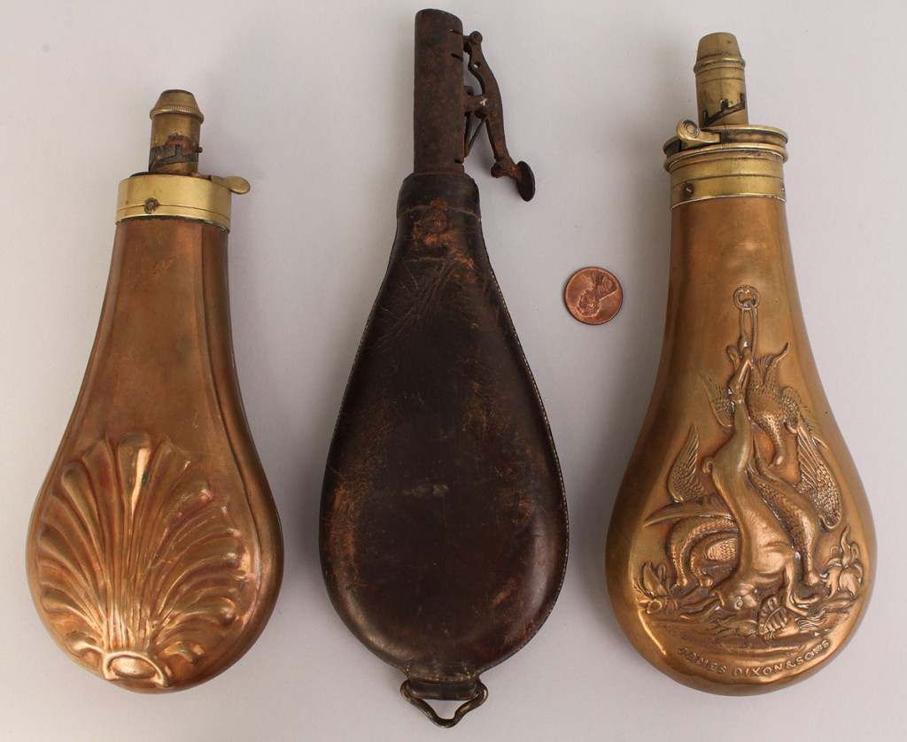 Lot 524: Lot of 3 powder flasks
