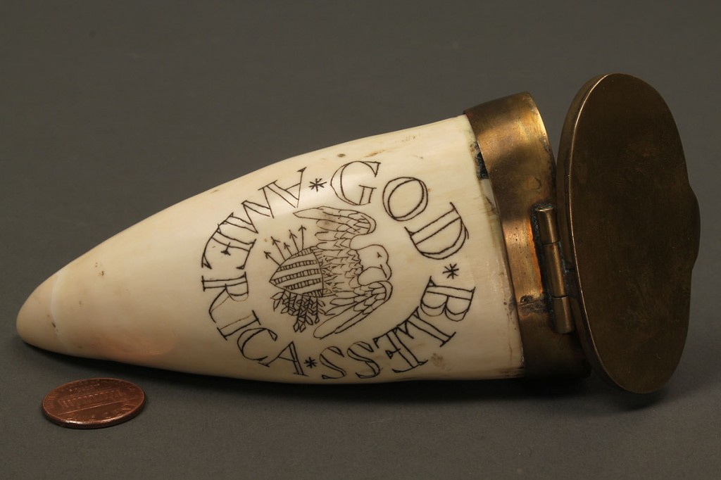 Lot 526: 8 powder flasks and 1 scrimshaw engraved tooth