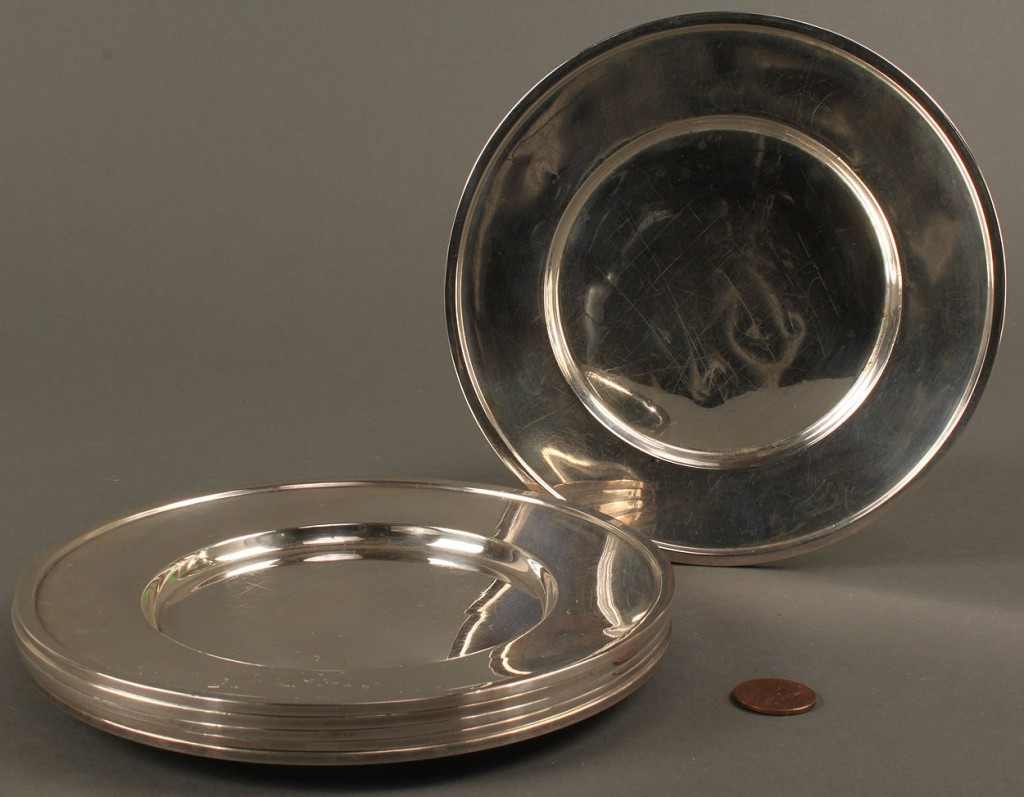 Lot 528: 6 Sterling Silver Bread Plates, Webster Co.
