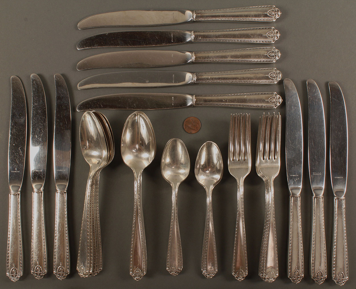 Lot 534 Westmoreland Sterling Silver Flatware 44pcs