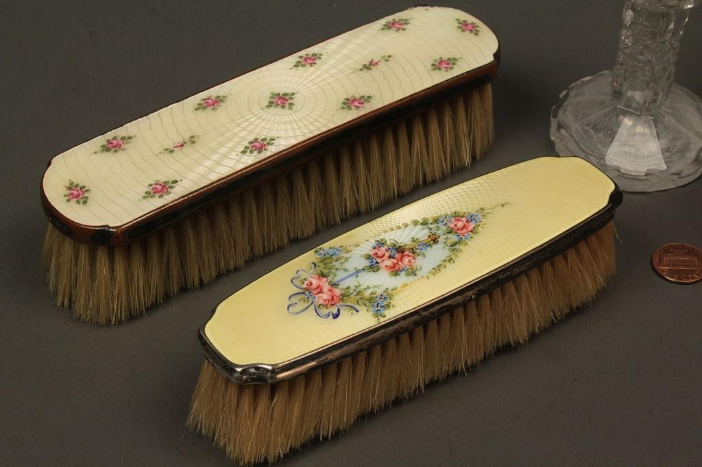 Lot 537: 4 Vanity Items, enameled silver bottles & brushes