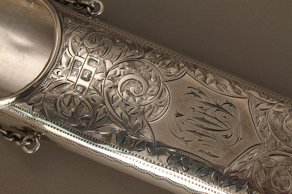 Lot 539: Sterling silver chatelaine eyeglass case