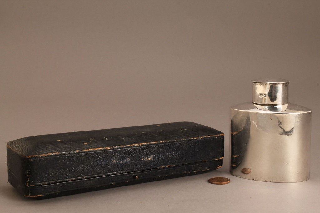 Lot 541: English sterling tea caddy & place card holders