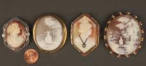 Lot 546: Lot of 4 Assorted Carved Cameos, one 14K