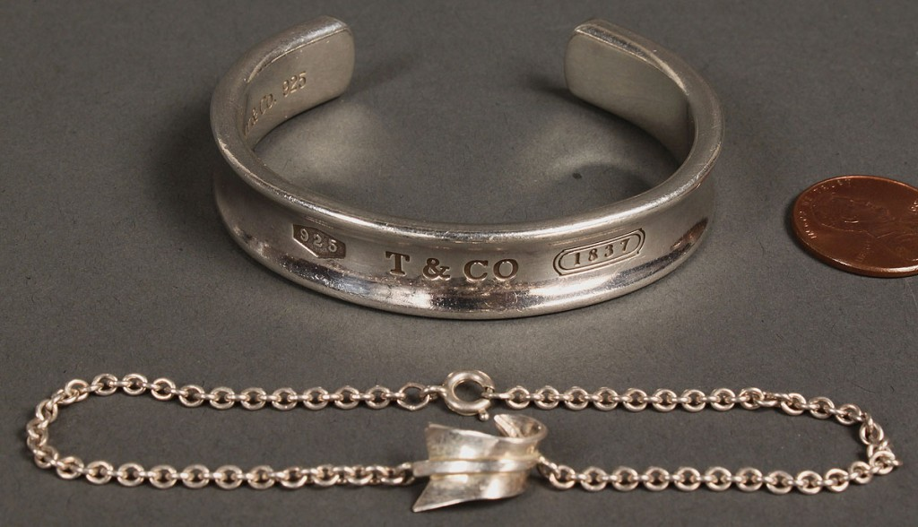 Lot 556: 2 Tiffany Sterling Bracelets, Link & Cuff